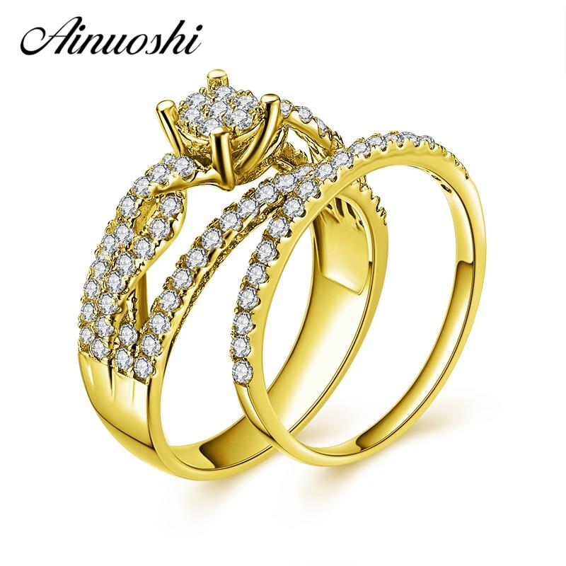 AINUOSHI 10 k ensemble de bague nuptiale en or jaune massif 4 dents coupe ronde tressée SONA diamant ensemble de bijoux de fiançailles de mariage cadeau