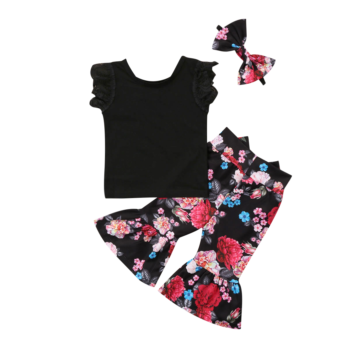 3Pcs Toddled Kids Baby Girls Lace Short Sleeve Solid T Shirt Floral Flare Pants Bow Headband Outfits Set Clothes Spring Summer