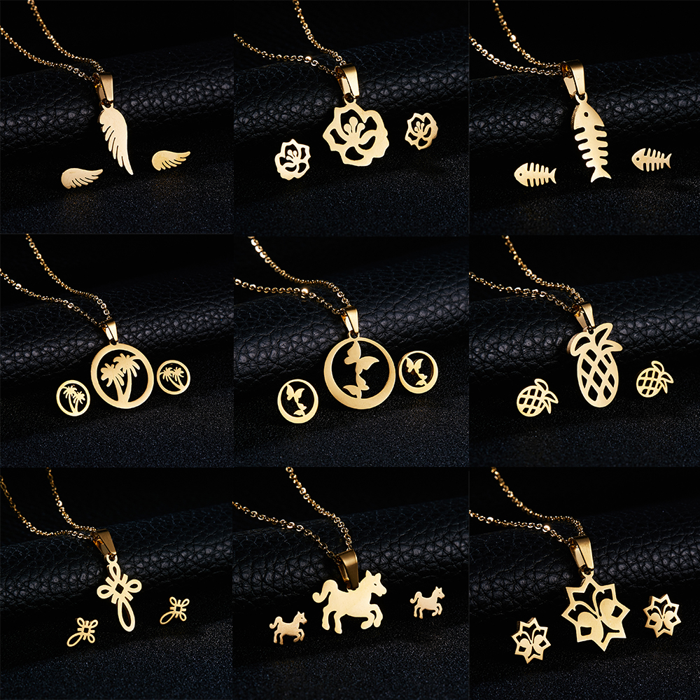 Rinhoo Gold Color Stainless Steel Jewelry Sets Fish Horse Wing Rose Flower Pendants Necklace Earrings Sets Women Wedding Jewelry