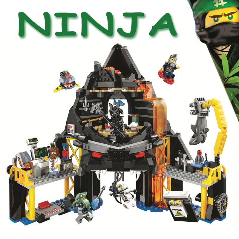 Bela Ninjagoe Movie 70631 Garmadon's Volcano Lair Base Fortress 554Pcs Building Blocks Bricks 2018 New Compatible Legoe Giftse custom 100