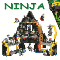 Bela Ninjagoe Movie 70631 Garmadon's Volcano Lair Base Fortress 554Pcs Building Blocks Bricks 2018 New Compatible Legoe Giftse