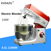 1200W 6.5L Stainless Steel Bowl 6 speed Kitchen Food Stand Mixer Cream Egg Whisk Blender Cake Dough kneading Bread Maker Machine