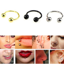 Titanium Anodized Circular Barbell Horseshoe Ring Nose Hoop Ear Cartilage Tragus Piercing Labret Ring For Unisex Jewelry(China)