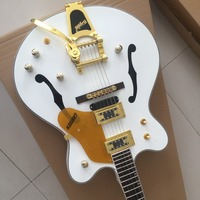 Custom shop wholesale Semi Hollow Body luxury Falcon white Jazz Electric Guitar , with Bigsby Tremolo,