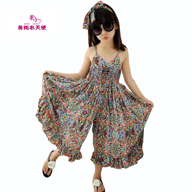 New Girls Bohemia Children Dresses Summer Beach Dress Floral V-neck Sleeveless Dress Jumpsuits Maxi Dress 4 6 8 10 12 14 Years shein floral plus size white dress women maxi long dresses large sizes print v neck button front shirred waist tropical dress