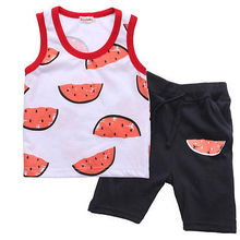 2pcs Kids Baby Boy Girl Newborn Watermelon Sleeveless Shirt Tops+Black Pants Outfit Floral Clothes Set 0-24M