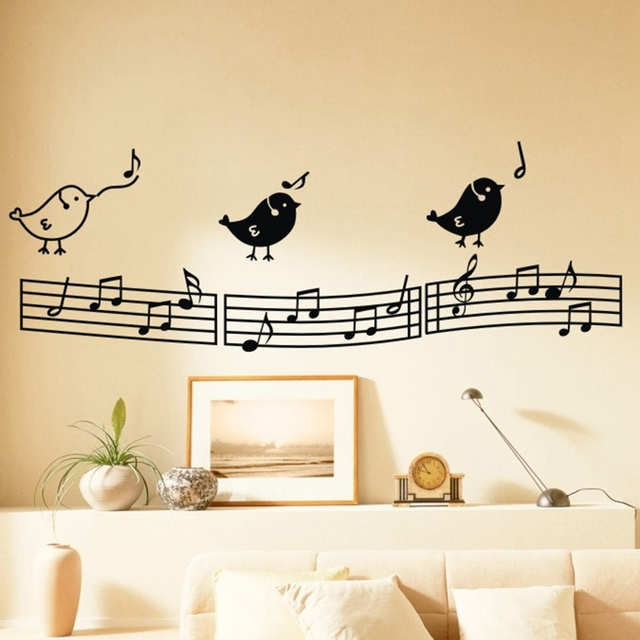 free shipping singing birds wall stickers art musical wall decals ...