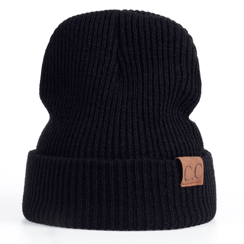 VORON Winter Hat female Male Unisex knitted Skullies Casual Hat For Men Women CC labeling Solid pink Skullies Autumn Beanies Cap skullies