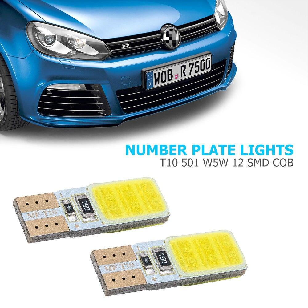 2x White 12-SMD LED COB 12v Number Plate Light Bulbs 501,W5W,T10