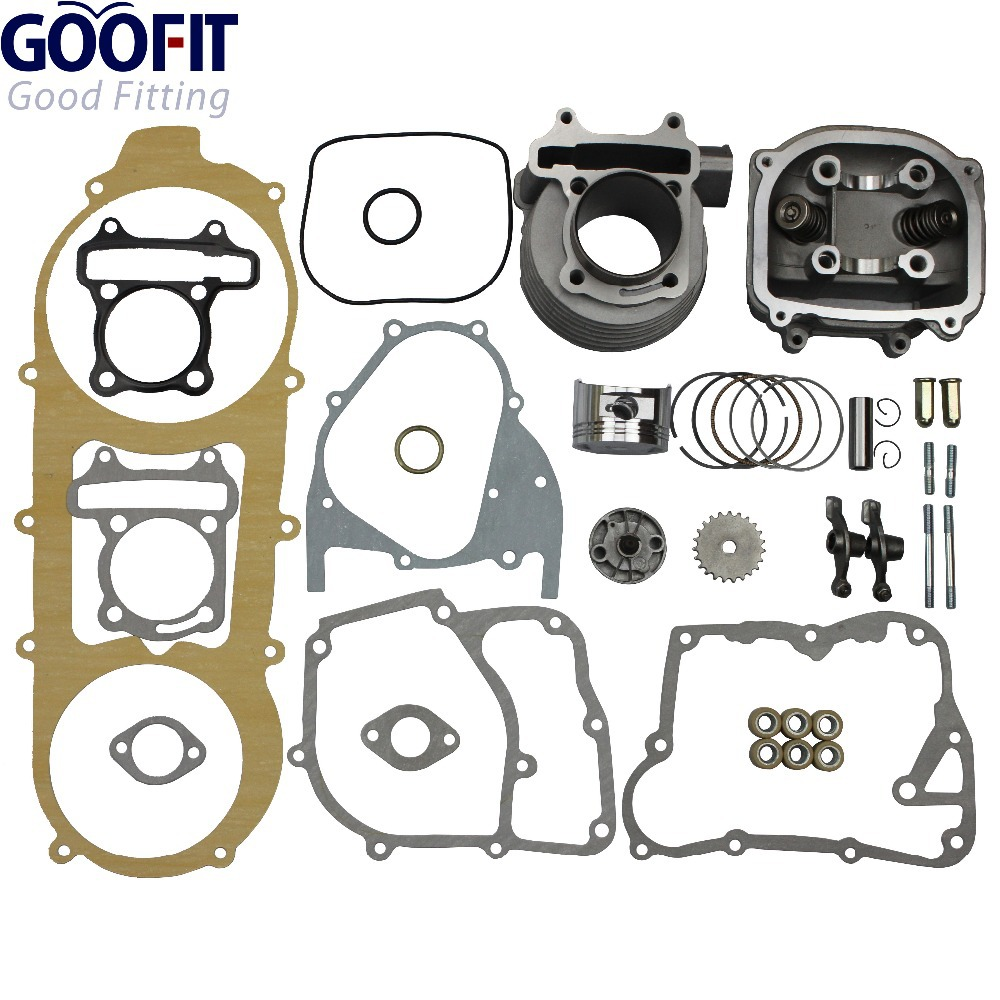 GOOFIT 57.4mm Bore Scooter 150cc Gy6 Engine Rebuild Kit Cylinder Kit Cylinder Head Chinese Group-4 38mm cylinder barrel piston kit