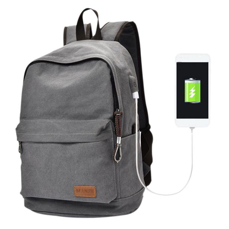Outdoor Shoulder Sports Canvas Bag USB Travel Backpacker