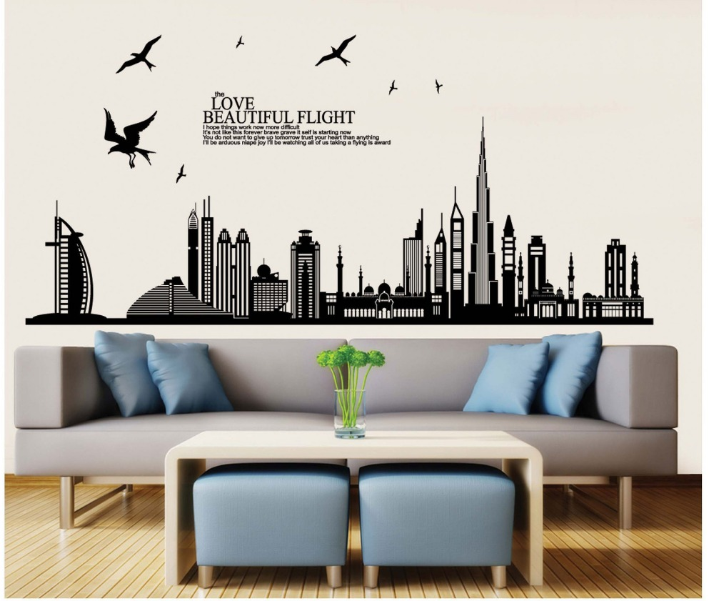 Buildings silhouette wall stickers black stencil men home rooms buildings silhouette wall stickers black stencil men home rooms office salon decor modern city vinyl wallpaper in wall stickers from home garden on amipublicfo Choice Image