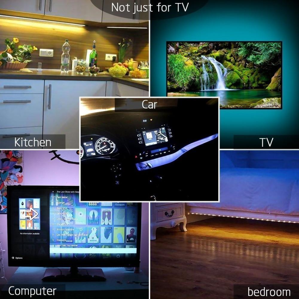 WELPUR battery 5V USB LED Strip 2835 DC LED Light Flexible 50CM 1M 2M 3M 5M white warm For TV Background Lighting Night light