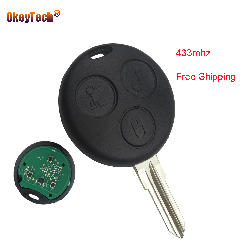 OkeyTech for Mercedes Benz <font><b>Smart</b></font> City Fortwo Roadster <font><b>450</b></font> Remote <font><b>Key</b></font> Cover Case 3 Buttons 433MHz Replacement Fob Free Shipping image