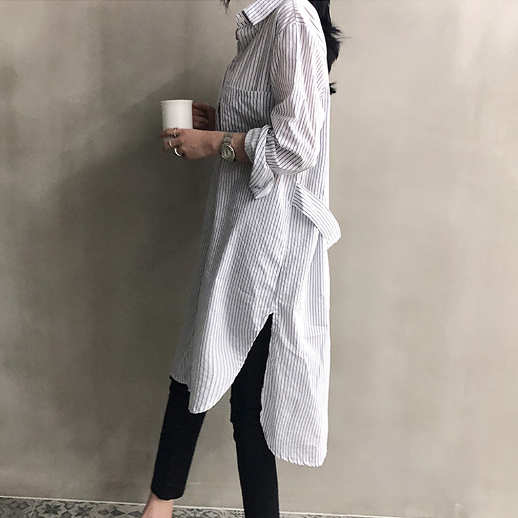 Stripe Long Sleeve Long Shirt Dress 2018 New Autumn Spring Casual Patchwork Dresses OL Turn Down Collar Buttons Loose Dresses