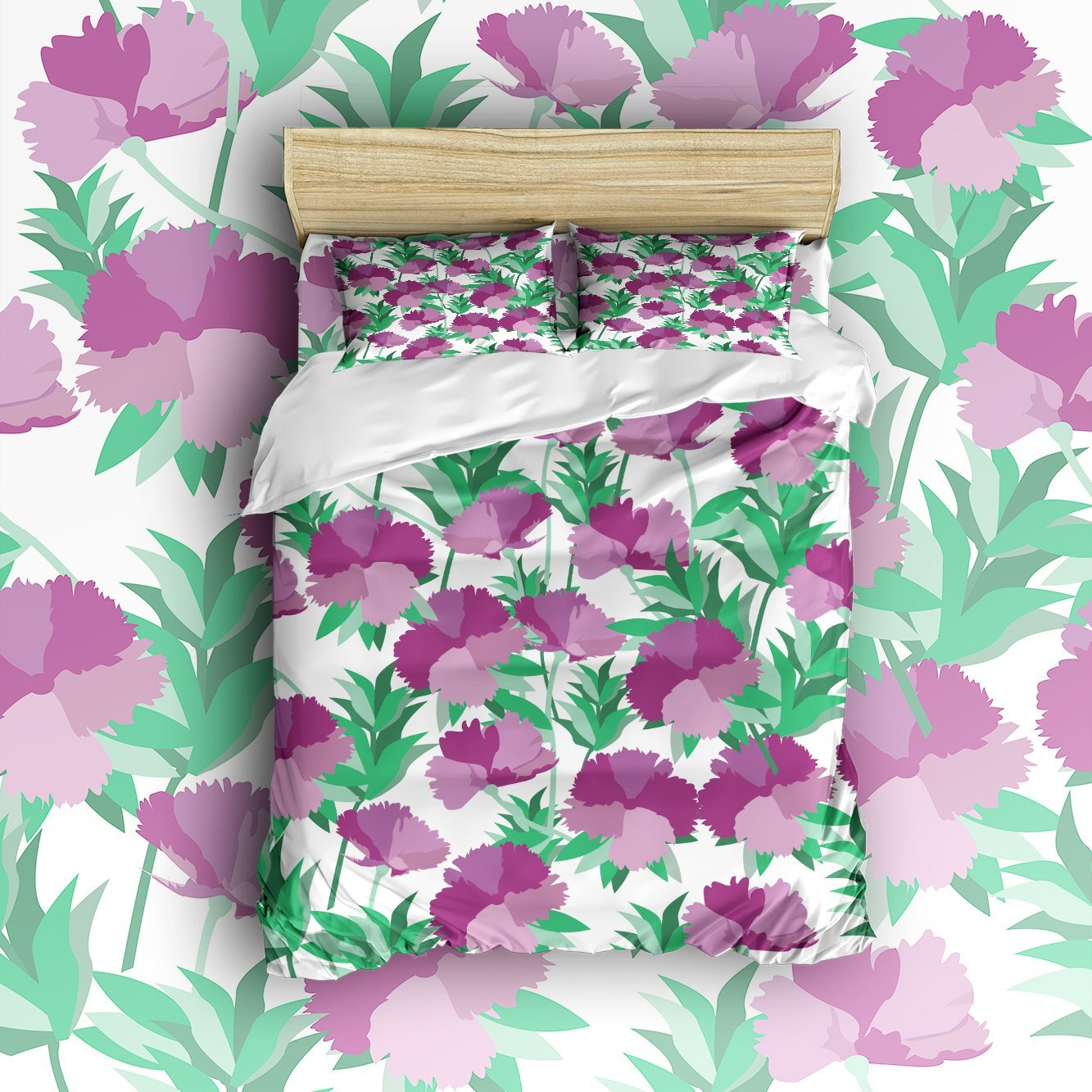 4 Piece Bed Sheets Set, Purple Carnation Flowers with ... - photo#44