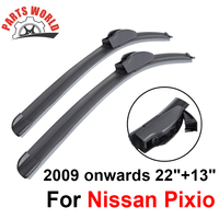 22''+13'' Pair Windscreen Front Wiper Blades For Nissan Pixio 2009 2016 Fit Windshield Natural Rubber Wipers Car Accessories