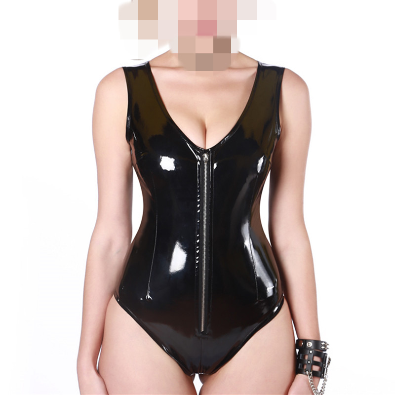 Buy Black Latex PVC Bodysuit Cat Women Faux Leather Catsuit Erotic Wet Look Bodycon Punk Fetish Deep V Sleeveless Sexy Club Jumpsuit