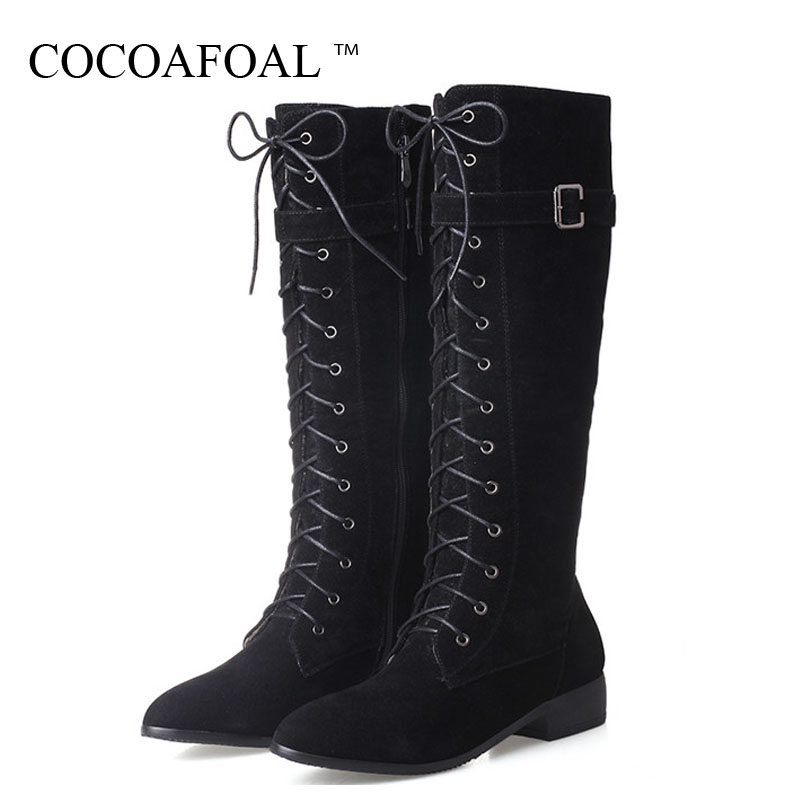 COCOAFOAL Sexy Women's Knee High Boots Winter Woman High Heel Shoes Plus Size 33 43 Lace Up Boots Fashion Knee High Boots 2018 autumn and winter high heeled knee boots women fashion leather lace up high heels plus size knight boots size 35 43