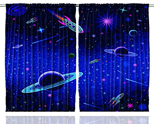 Kids Curtains Outer Space Orbit Rocket Galaxy Stars Milkyway Nebula Cosmos Astronomy Nursery For Bedroom Living Room Curtains