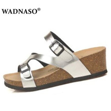 WADNASO Women Cork Sandals Soft  High Heel Shoes Female Summer Slippers Beach Slides Platform Wedges Slippers Mujer Sandalias vtota slippers women fashion open toes women summer shoes heel shoes women slides platform wedges shoes female slippers g63