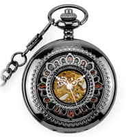 WOONUN Luxury Brand High Quality Antique Black Skeleton Steampunk Mechanical Pocket Fob Watch For Men Pendant Gift Free Shipping