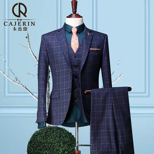 US $250.77 |Cajerin Vintage Royal Blue Mens Plaid Suits Wedding Tuxedo Groom Slim Fit Groom Suits Wedding Dress (Blazer+Pants+ Vest) in Suits from