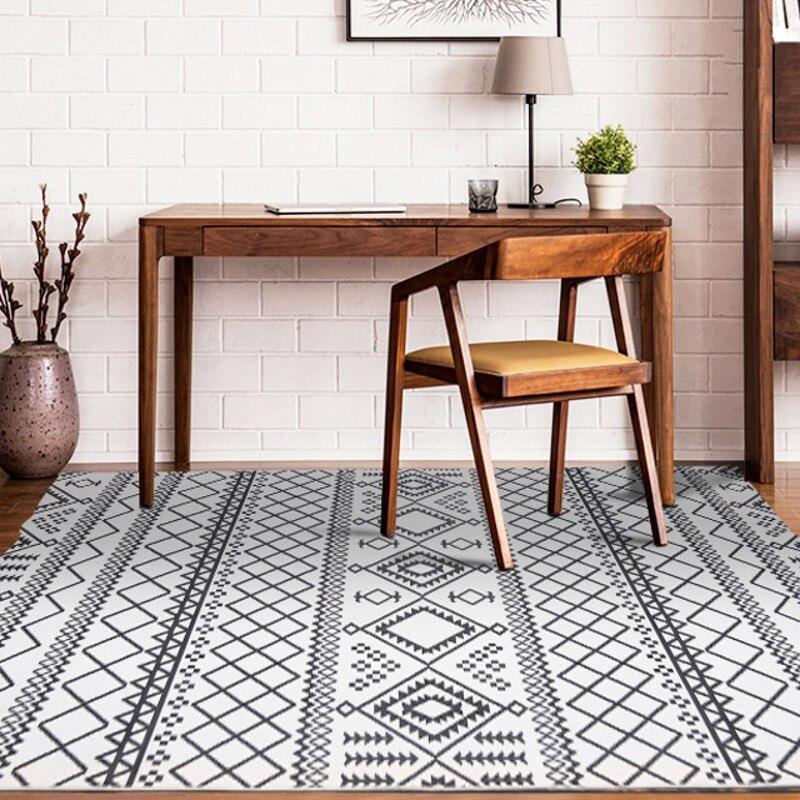 Slash sales tapis géométrique blanc de style moderne 160*230 cm, tapis de table basse de salon de grande taille, tapis de décoration pastorale pour la maison