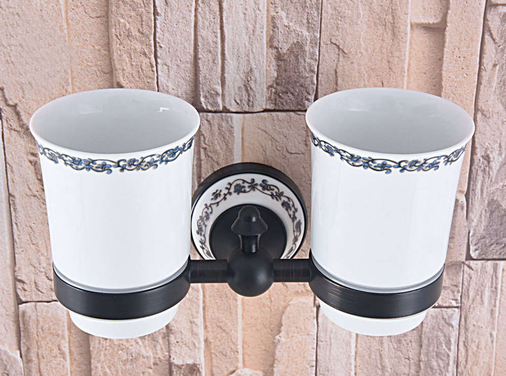 Black Oil Rubbed Bronze Double Toothbrush Holder With Ceramic Flower Cup Wall Mounted Ceramic Base Bathroom Accessories aba766 image