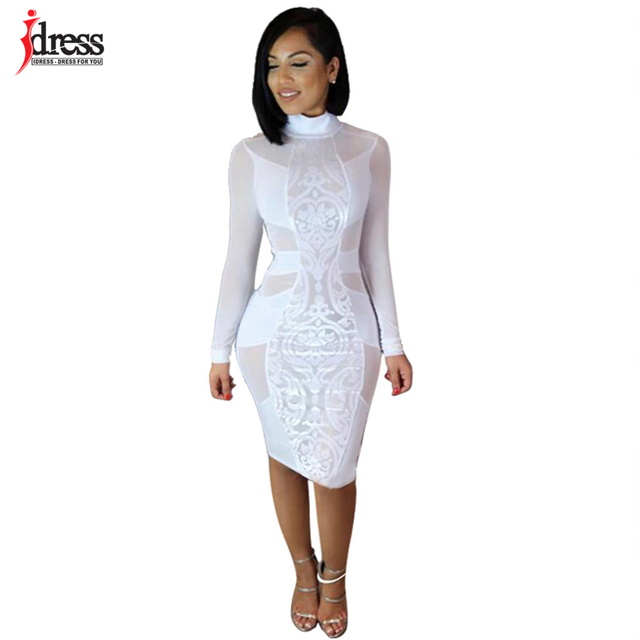 IDress 2018 White  Black Sexy Club Wear Womens Fashions Fall Long Sleeve  Turtleneck Sheer Autumn Winther Bandage Bodycon Dress aacaeb48f10a