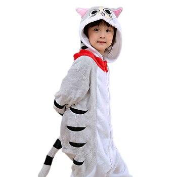 e8010a3c Pijamas de los niños con capucha de franela de invierno de dibujos animados  gato niños niñas Pijamas bebé Pijamas ropa de dormir 4 6 8 10 12 años