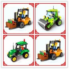 Empilhadeira Caminhão engenheiro Rolo Compactador Mixer Tractor Sweeper Modelo Bulldozer Building Block Toy ILUMINAI Compatível Legoe