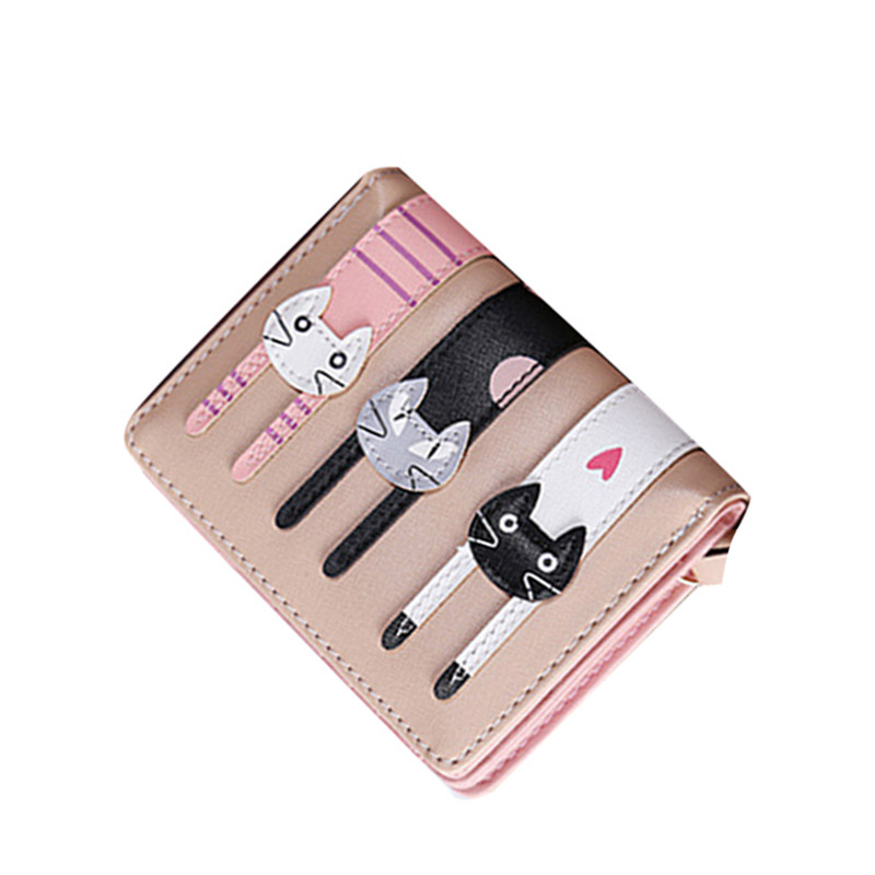 Lovely Cartoon Cute Cat Short Wallet Women PU Leather Bifold Photo Coin Card Holders Ladies Functional Clutch Purse naivety drop shipping women cute coin purse pu leather cartoon rabbit printing short wallet animal monedero de la moneda 28s7626