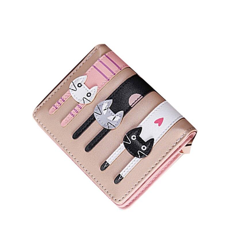 Lovely Cartoon Cute Cat Short Wallet Women PU Leather Bifold Photo font b Coin b font