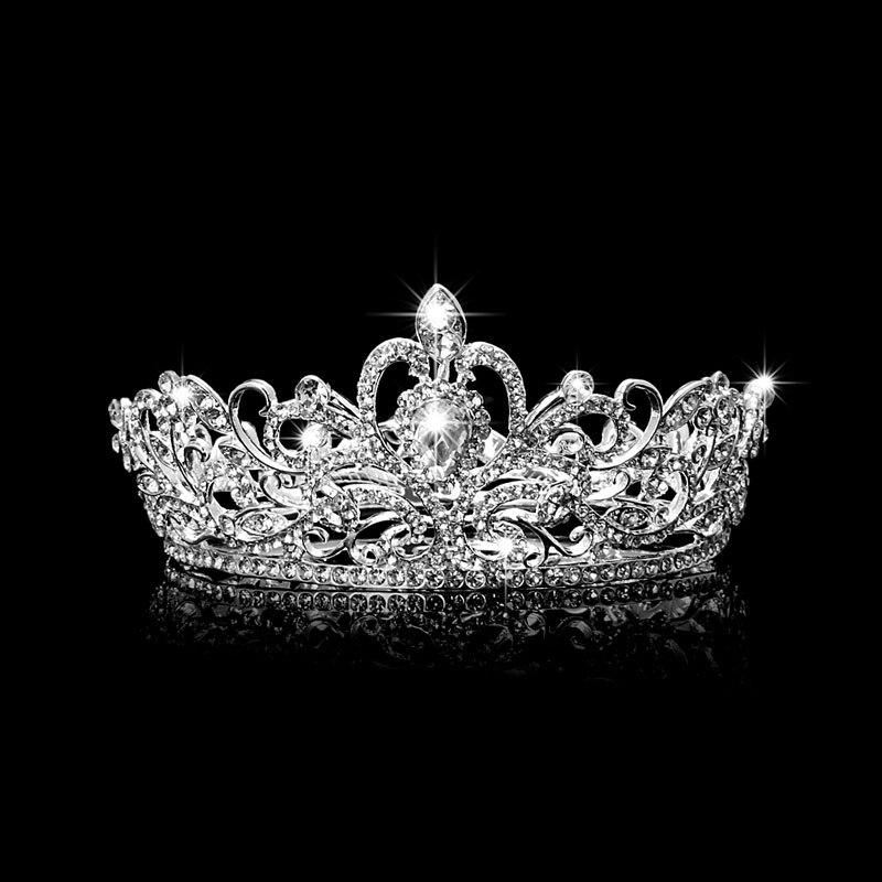 Wanita Hairwear Mahkota Tiaras Ikat Kepala Pengantin Aksesoris Rambut Kristal Berlian Buatan Mahkota Ikat Kepala Kristal Yang Menakjubkan Tiara-Internasional