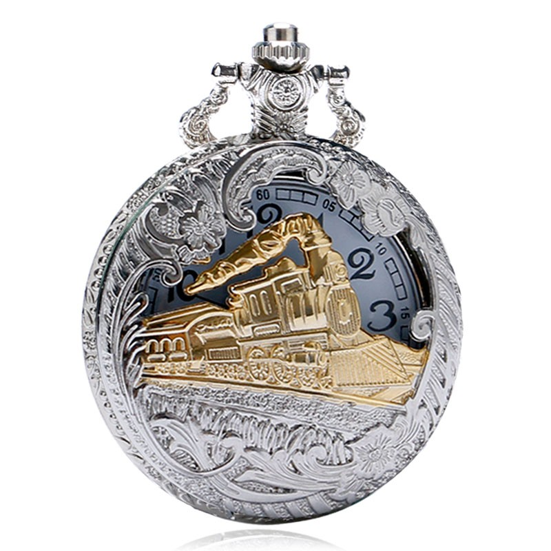 Vintage Silver Charming Gold Train Carved Openable Hollow Steampunk Quartz Pocket Watch Men Women Necklace Pendant Clock Gifts vintage silver charming gold train antique pocket chain quartz men women watch necklace pendant clock gifts