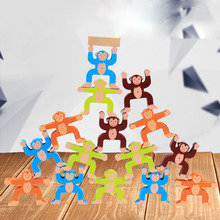 New Wood Building Blocks Monkey Balance Game Toy Educational Toys Balancing Development for Kids Baby Wooden Rainbow monkey number balance math toys match balancing scale game board game educational toy for child to learn add and subtract