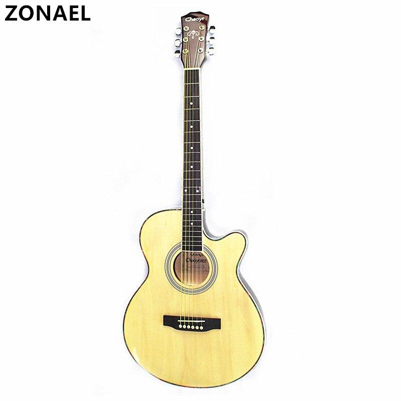 все цены на ZONAEL Hot 40 Inch High Quality Acoustic Guitar Rosewood Fingerboard Guitarra With 6 Strings Ultra Thin Bucket Body Folk Guitar онлайн