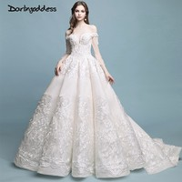 Darlingoddess Robe De Mariage Vintage Luxury Lace Wedding Dresses 2018 Long Sleeves Ball Gown Elegant Wedding Gowns Real Photos