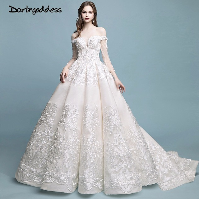 Robe De Mariage Vintage Luxury Lace Wedding Dresses 2018 Long Sleeves Ball Gown Elegant Wedding Gowns Real Photos