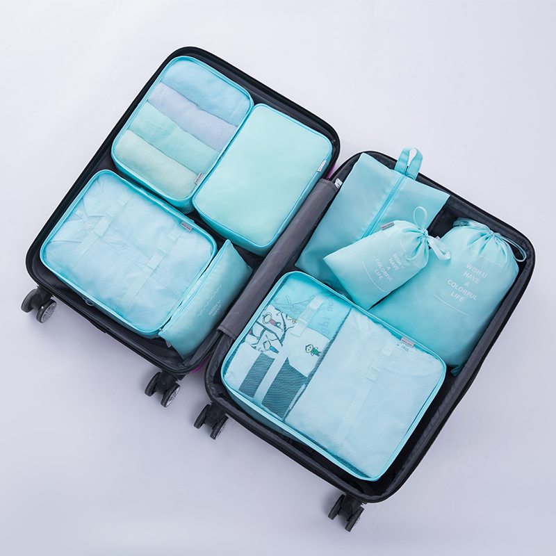 8pcs/Set Travel Storage Bags Clothes Suitcase Organizer Pouch Tiny Packing High Capacity Travel Luggage Cubes Storage Container