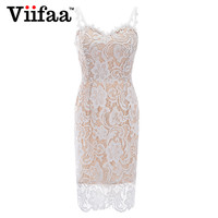 Viifaa Elegant Lace Dress 2018 Women Sexy Spaghetti Strap Summer Dresses White Knee Length Bodycon Party Dress