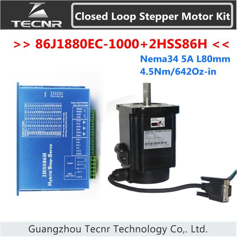 NEMA 34 Closed Loop Stepper Motor Kit 4.5Nm 642Oz-in 5A 86J1880EC-1000+2HSS86H 2 Phase Step-servo Driver 3 phase nema34 6n m 850ozf in closed loop stepper servo motor driver kit jmc 86j12126ec 1000 3hss2208h