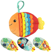 Купить с кэшбэком Baby Toys 0-12 Months Intelligence Development Fish Cloth Book Rattles Unfolding Activity Books Cute Animals Kids Toys DS9
