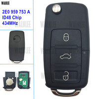 WALKLEE DIY Remote Key 434MHz Fit For VW VOLKSWAGEN HLO 2E0 959 753 A 753A With