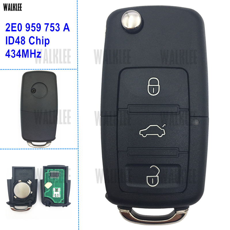 WALKLEE DIY Remote Key 434MHz fit for VW/VOLKSWAGEN HLO 2E0 959 753 A / 753A with ID48 Chip for Crafter