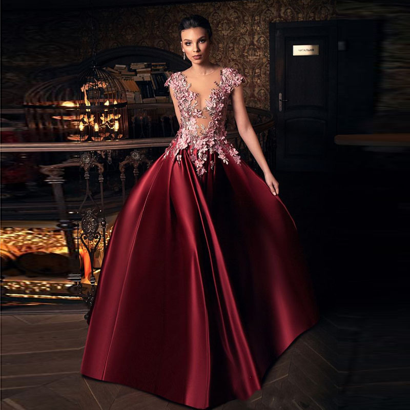 Sexy Deep Prom Dresses Vestido Formatura Burgundy Prom Dress A Line Vintage Long Gala Jurken	Prom Gowns Appliques Custom Made
