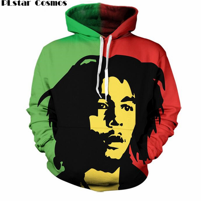 1af48eeea5489 US $18.89 30% OFF|PLstar Cosmos Pocket Drawstring Thin Hoodies Men/Women 3d  Sweatshirts Reggae Star Bob Marley Print casual Hoody Pullovers S 5XL-in ...