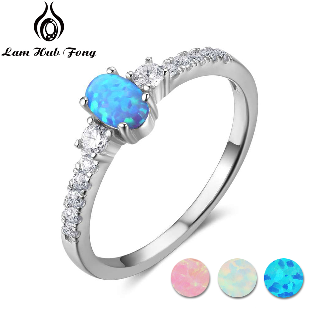 Real Pure 925 Sterling Silver Oval Blue Opal Ring With Cubic Zirconia Women Finger Rings Party Wedding Jewelry (Lam Hub Fong)