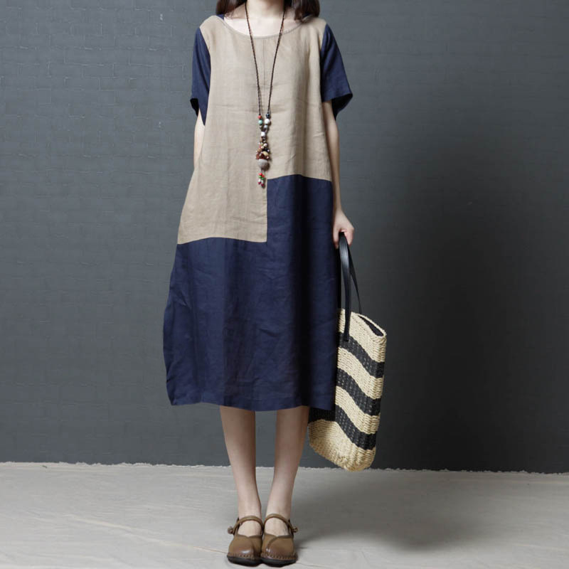 Big Size Boho Loose Dress 2020 New Women Splice Vintage Dress Comfort Cotton Linen Dress Short-Sleeve Beach Dress Blue/Red S-2XL